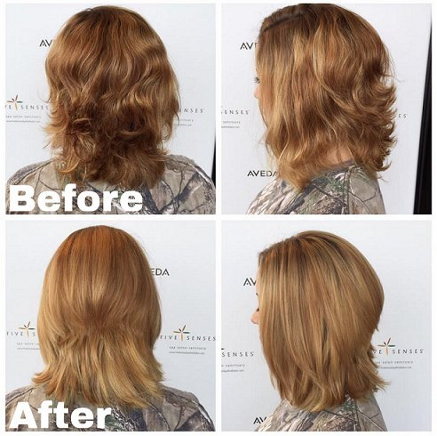 A cut and color correction on a new guest Elyse from box dye to a more natural balayage!