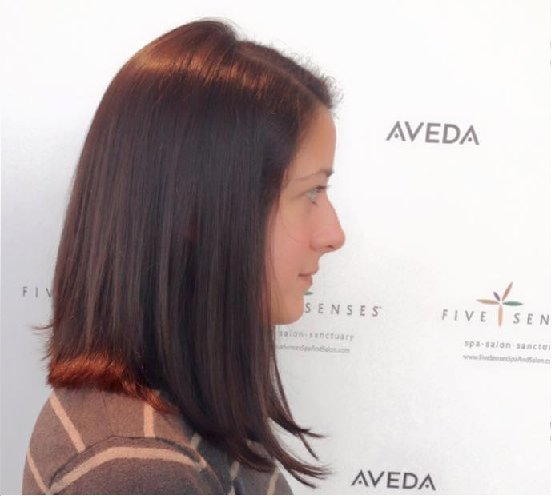 Amanda received a long angled cut by Lyssa!