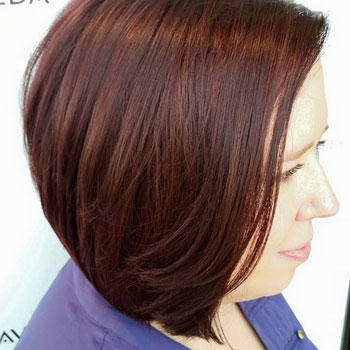 Stacked bob haircut for easy volume.