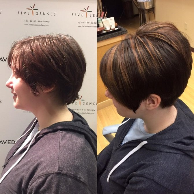 Michelle received a great highlight, color and new style provided by Jailyn.