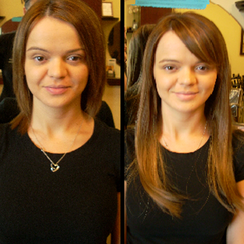 Easihair extensions blend well with your color and are 100% human hair.