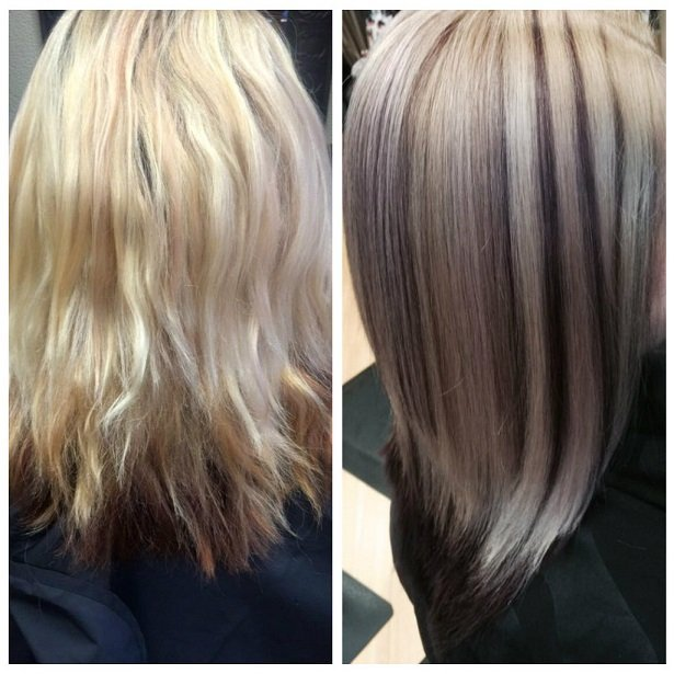 Erin received a violet undertone while touching up her blonde highlights.