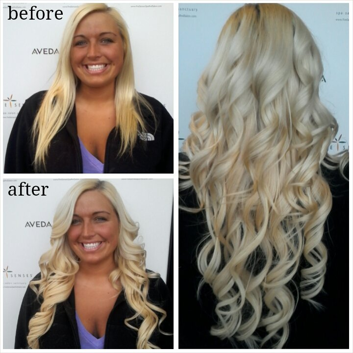 Katie's new 100% human hair extensions gave her hair more length AND volume!