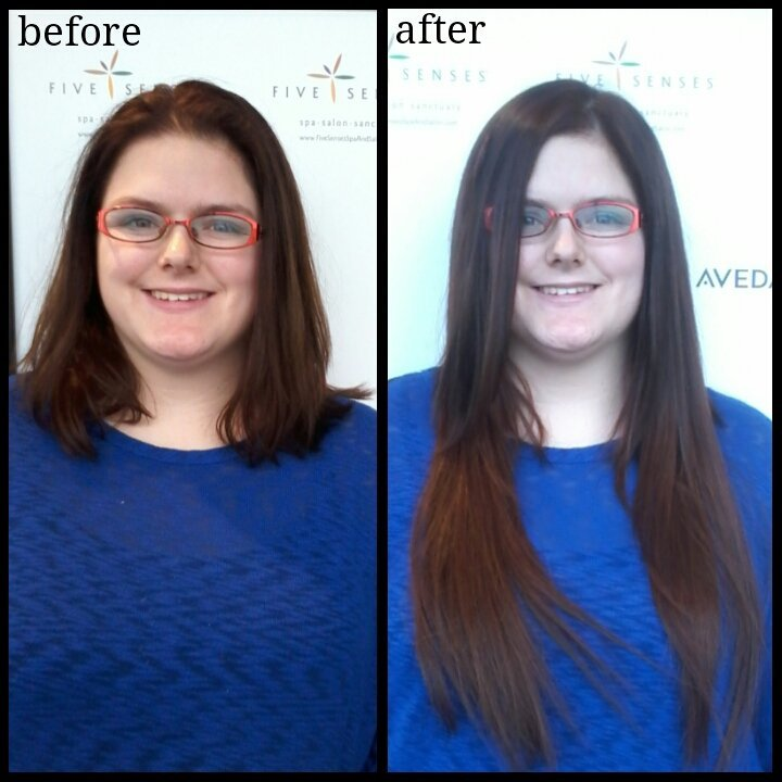 What a gorgeous difference these 100% human hair extensions make in Christina's hair!