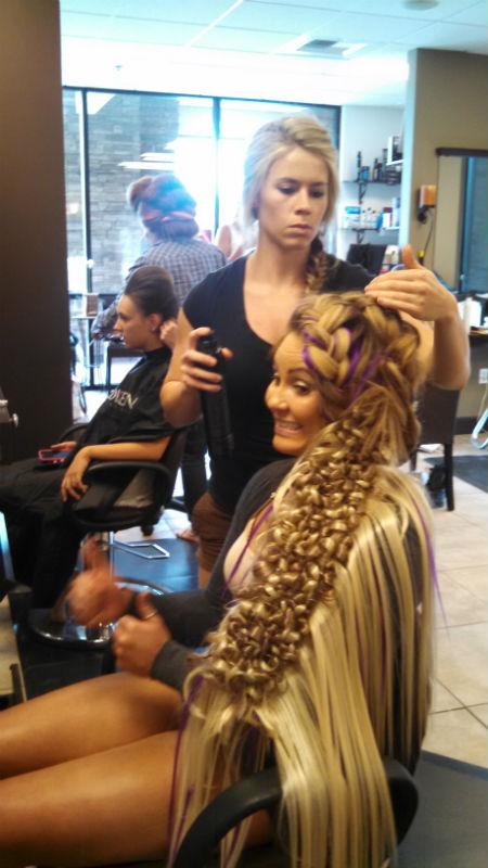 Hair Wars 2015 - Noelle working on her Hair Wars model