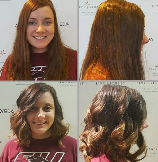 Jessica turned her auburn locks to a brown and caramel balayage!