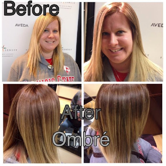 Blonde highlights turned into a subtle ombre with some color added to the roots!