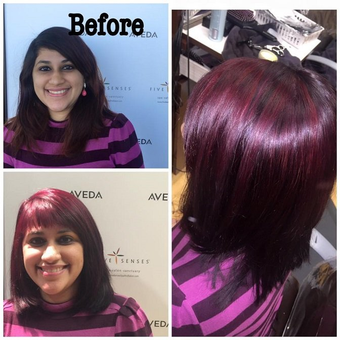 Meenakshi transformed her dark hair to pure red and violet highlights!