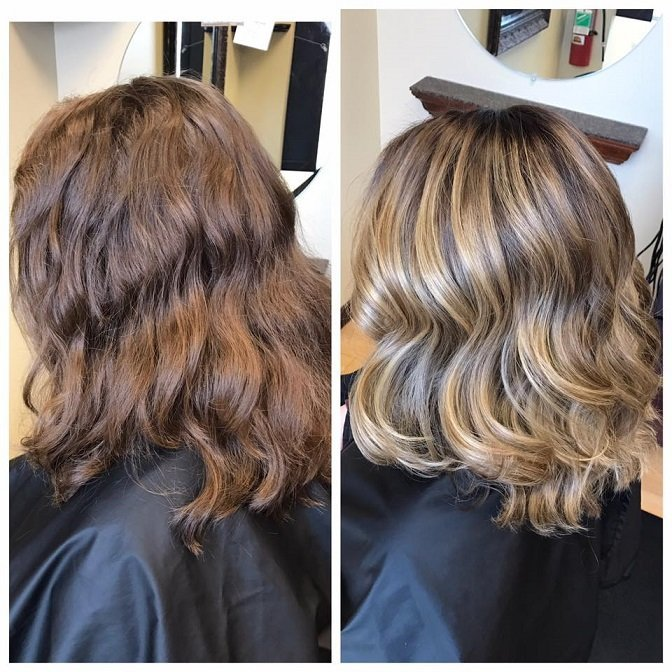 It was this guests first time EVER coloring her hair! How cute is this balayage?!