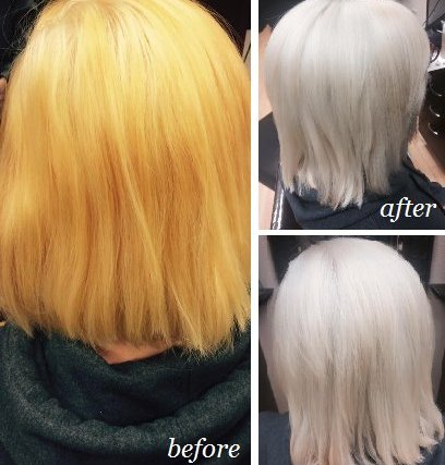 Taylor went to a great shade of blonde with our Aveda color!