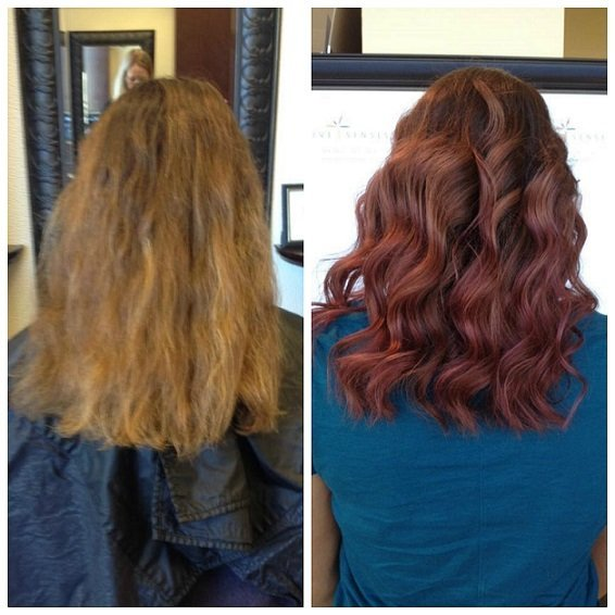 Jennifer gave Nicole an all over Rose Color with some added Highlights to achieve her new fall look!