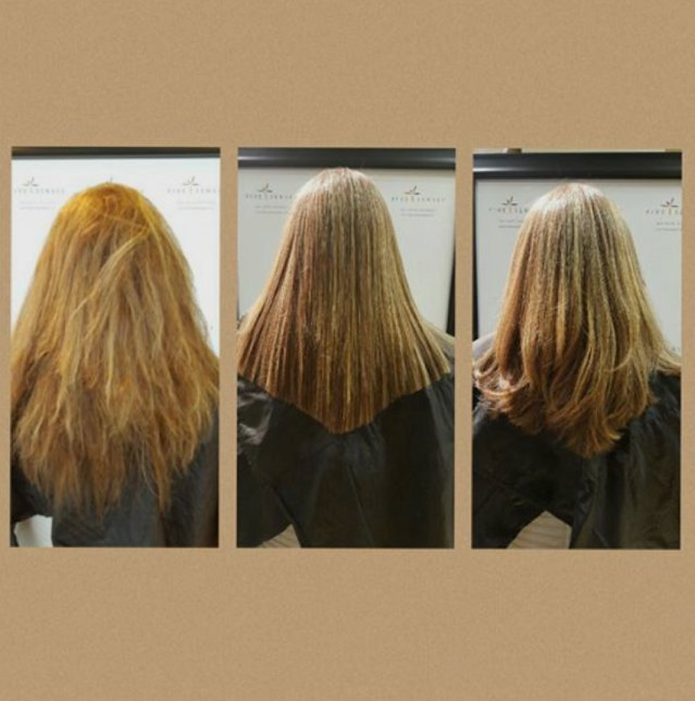 Here are the results after our temporary smoothing treatment! It will last up to 12 weeks and hair can still be styled as she desires.