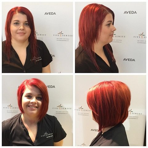 Our team member, Taylor, got her hair cut into this nice bob!