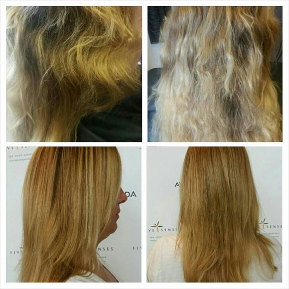 Jennifer received a new color as well as the Hard Water Treatment. We can't believe the result!