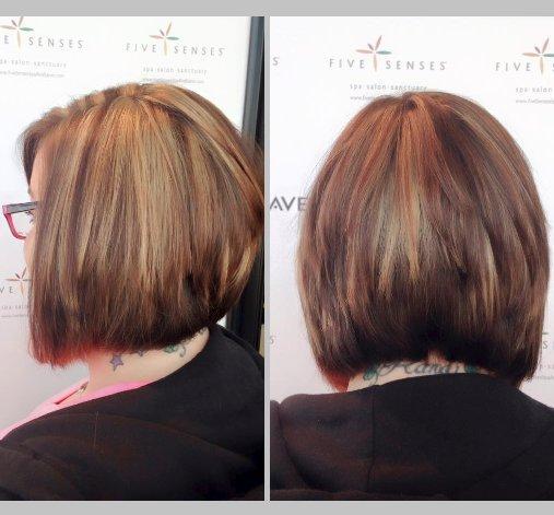 Randi got these highlights to brighten up her virgin hair!