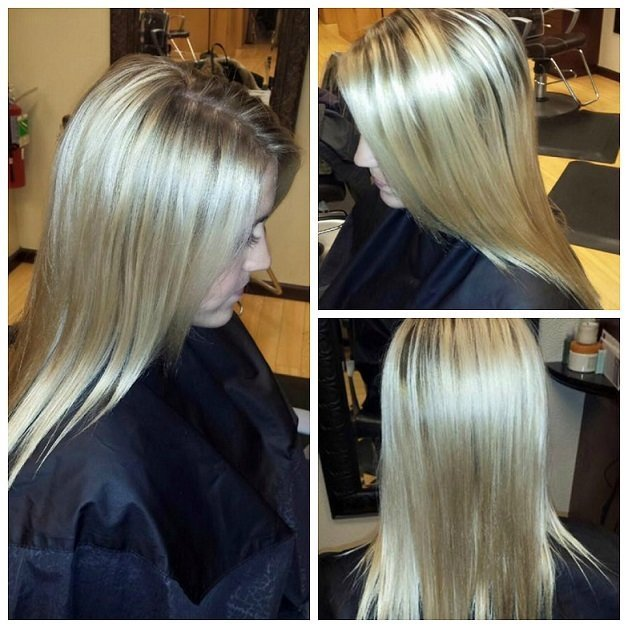 Jailyn brightened Lindsey's blonde ends and gave her a subtle root. Gorgeous!