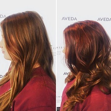 Cali upgraded her virgin hair to a red to brown ombre!