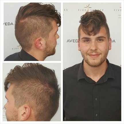 Courtney shaped up Brock's awesome pompadour!