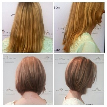 This style was lightened up with highlights and cut into a sleek bob!